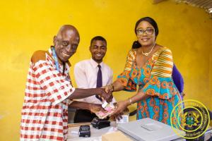 Hon. Minister Cynthia Mamle Morrison monitors LEAP Payment at Abodom in Agona Swedru